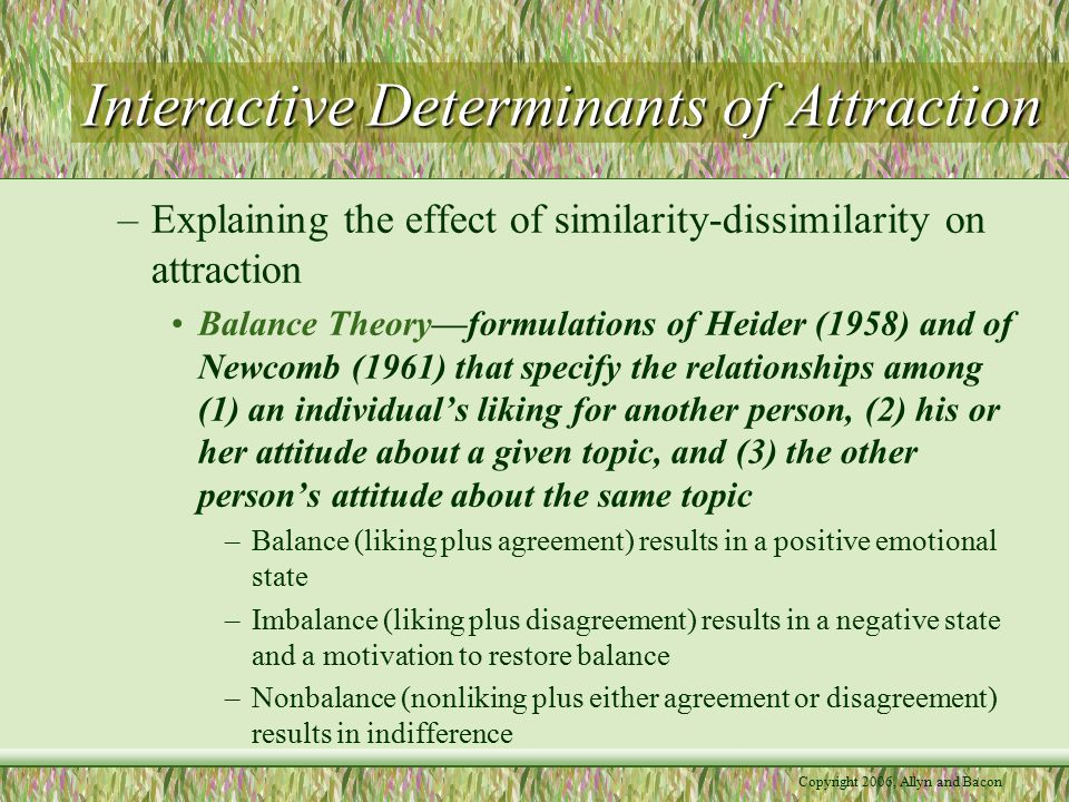 Copyright 2006, Allyn and Bacon Interactive Determinants of Attraction –Explaining the effect of similarity-dissimilarity on attraction Balance Theory—formulations of Heider (1958) and of Newcomb (1961) that specify the relationships among (1) an individual's liking for another person, (2) his or her attitude about a given topic, and (3) the other person's attitude about the same topic –Balance (liking plus agreement) results in a positive emotional state –Imbalance (liking plus disagreement) results in a negative state and a motivation to restore balance –Nonbalance (nonliking plus either agreement or disagreement) results in indifference