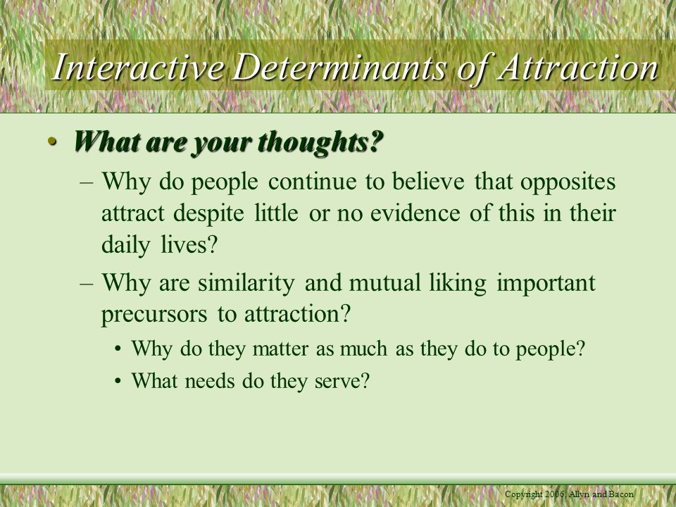 Copyright 2006, Allyn and Bacon Interactive Determinants of Attraction What are your thoughts?What are your thoughts.