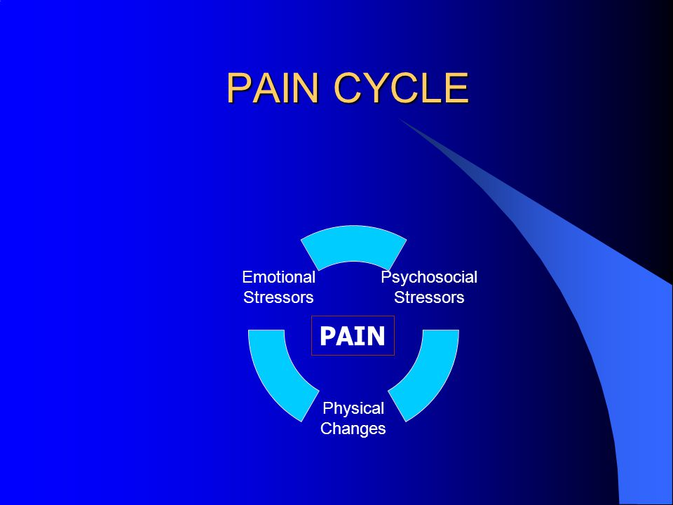 PAIN CYCLE Psychosocial Stressors Physical Changes Emotional Stressors PAIN