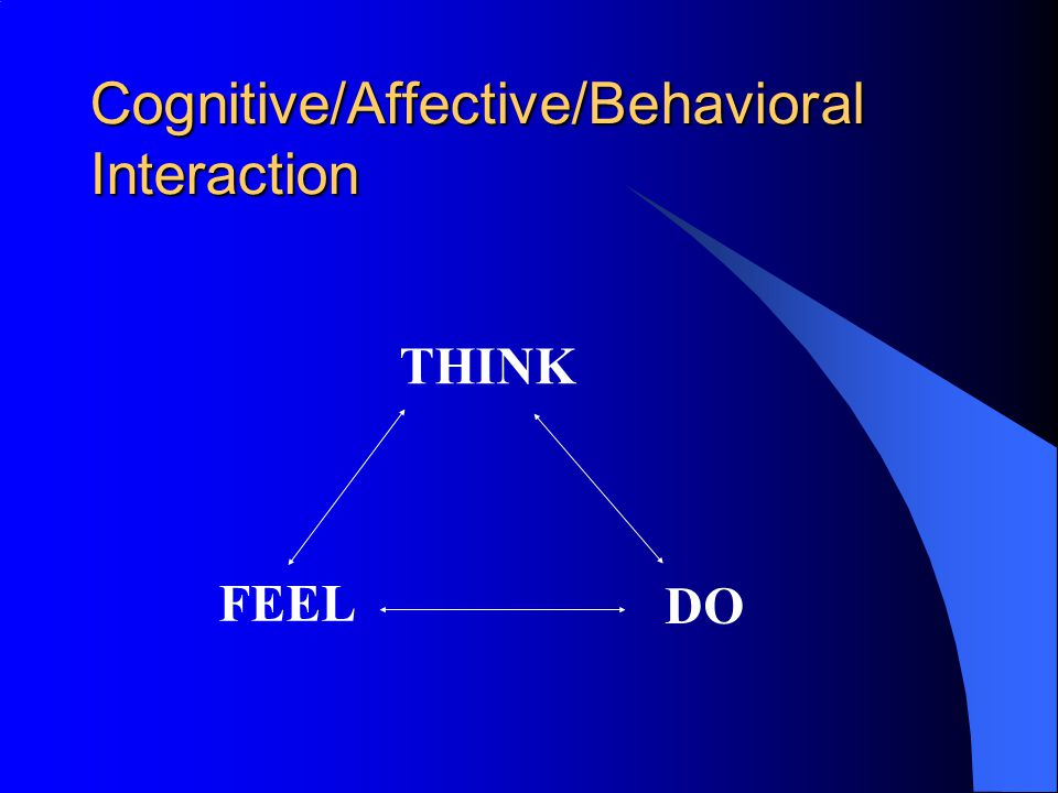 Cognitive/Affective/Behavioral Interaction THINK FEEL DO