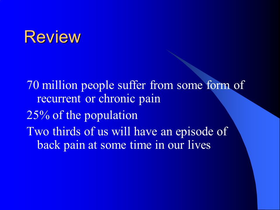 Review 70 million people suffer from some form of recurrent or chronic pain 25% of the population Two thirds of us will have an episode of back pain at some time in our lives