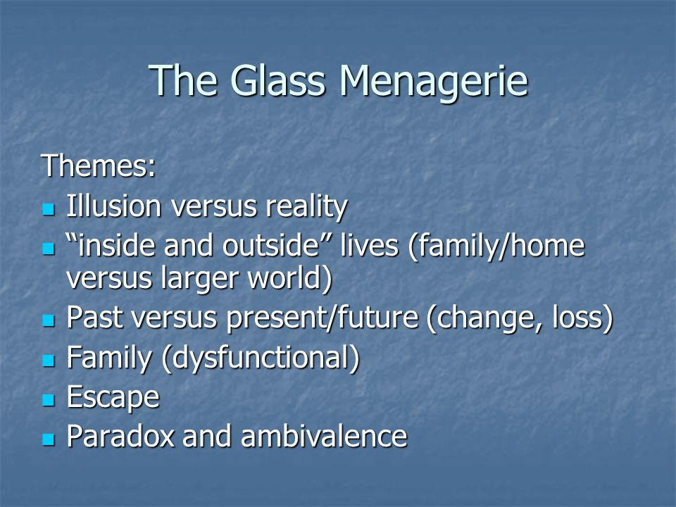 The Glass Menagerie Themes: Illusion versus reality Illusion versus reality inside and outside lives (family/home versus larger world) inside and outside lives (family/home versus larger world) Past versus present/future (change, loss) Past versus present/future (change, loss) Family (dysfunctional) Family (dysfunctional) Escape Escape Paradox and ambivalence Paradox and ambivalence