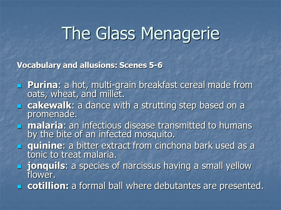 The Glass Menagerie Vocabulary and allusions: Scenes 5-6 Purina: a hot, multi-grain breakfast cereal made from oats, wheat, and millet.