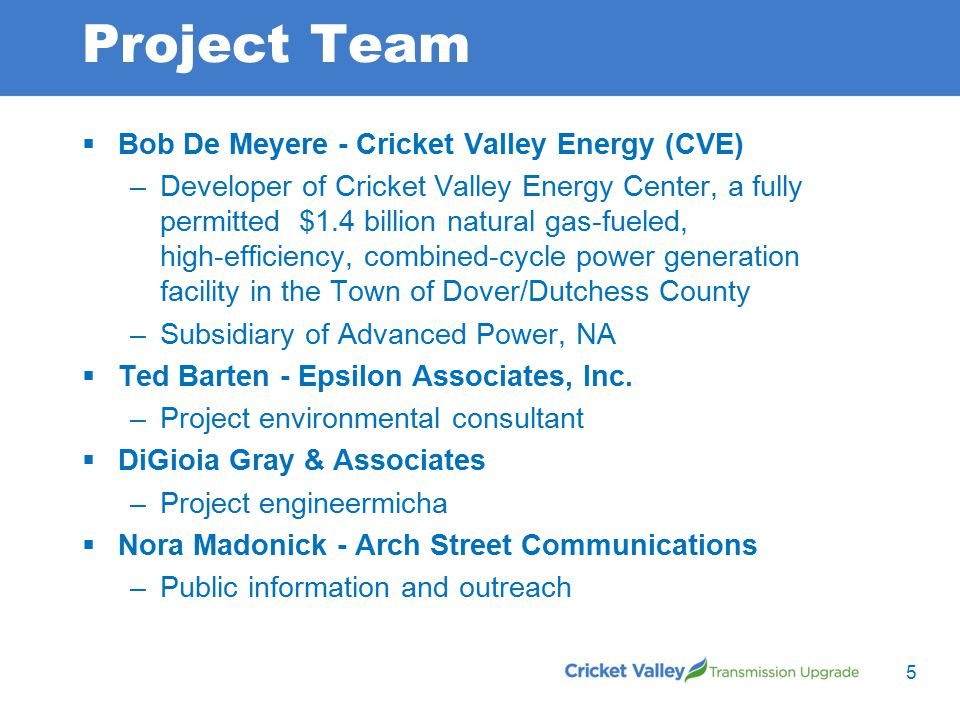 Project Team  Bob De Meyere - Cricket Valley Energy (CVE) –Developer of Cricket Valley Energy Center, a fully permitted $1.4 billion natural gas-fueled, high-efficiency, combined-cycle power generation facility in the Town of Dover/Dutchess County –Subsidiary of Advanced Power, NA  Ted Barten - Epsilon Associates, Inc.