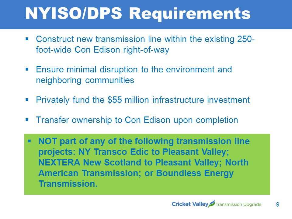 NYISO/DPS Requirements  Construct new transmission line within the existing 250- foot-wide Con Edison right-of-way  Ensure minimal disruption to the environment and neighboring communities  Privately fund the $55 million infrastructure investment  Transfer ownership to Con Edison upon completion  NOT part of any of the following transmission line projects: NY Transco Edic to Pleasant Valley; NEXTERA New Scotland to Pleasant Valley; North American Transmission; or Boundless Energy Transmission.