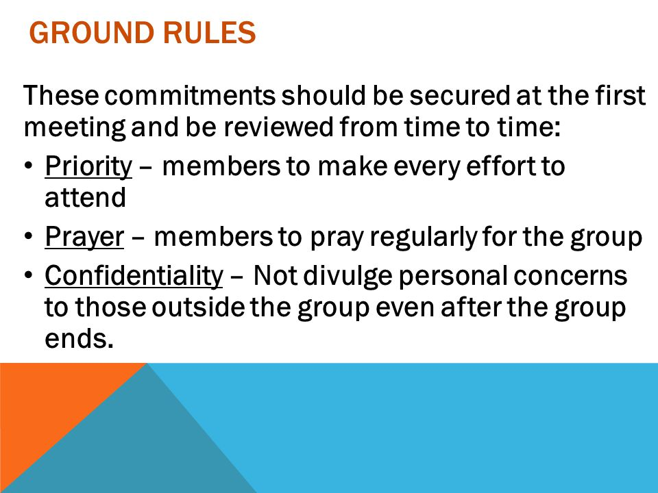 GROUND RULES These commitments should be secured at the first meeting and be reviewed from time to time: Priority – members to make every effort to at