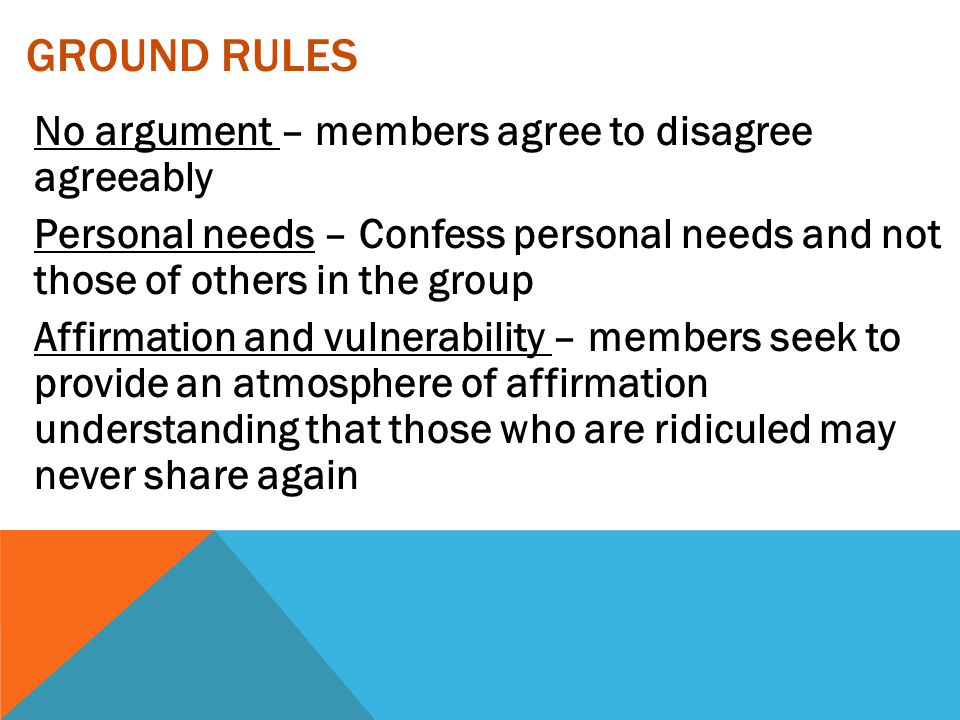 GROUND RULES No argument – members agree to disagree agreeably Personal needs – Confess personal needs and not those of others in the group Affirmatio