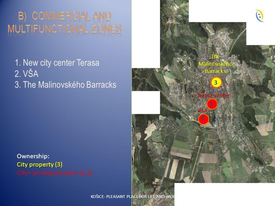 19 1. New city center Terasa 2. VŠA 3. The Malinovského Barracks VŠA 2 1 Terasa center The Malinovského Barracks 3 KOŠICE- PLEASANT PLACE FOR LIFE AND