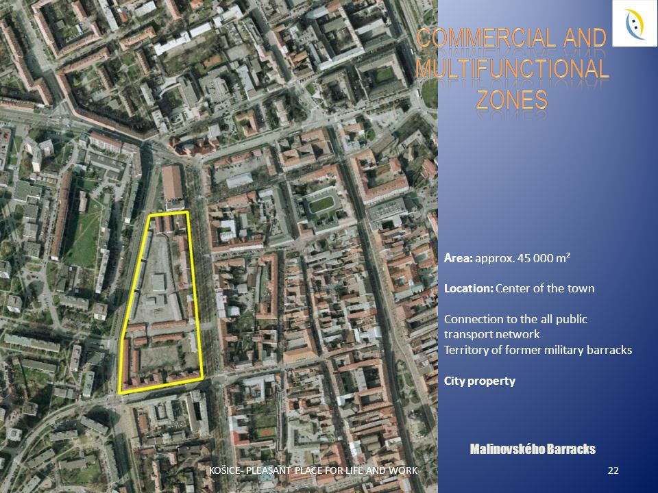 Malinovského Barracks 22 A rea: approx. 45 000 m² Location: Center of the town Connection to the all public transport network Territory of former mili