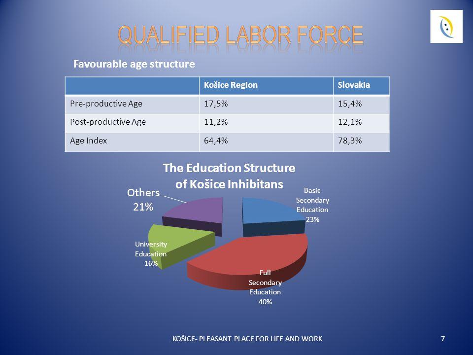 7 Košice RegionSlovakia Pre-productive Age17,5%15,4% Post-productive Age11,2%12,1% Age Index64,4%78,3% Favourable age structure