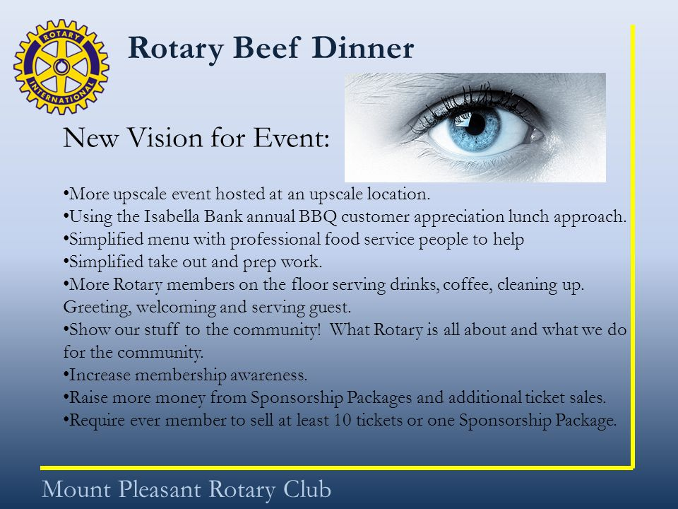 Rotary Beef Dinner Mount Pleasant Rotary Club New Vision for Event: More upscale event hosted at an upscale location.