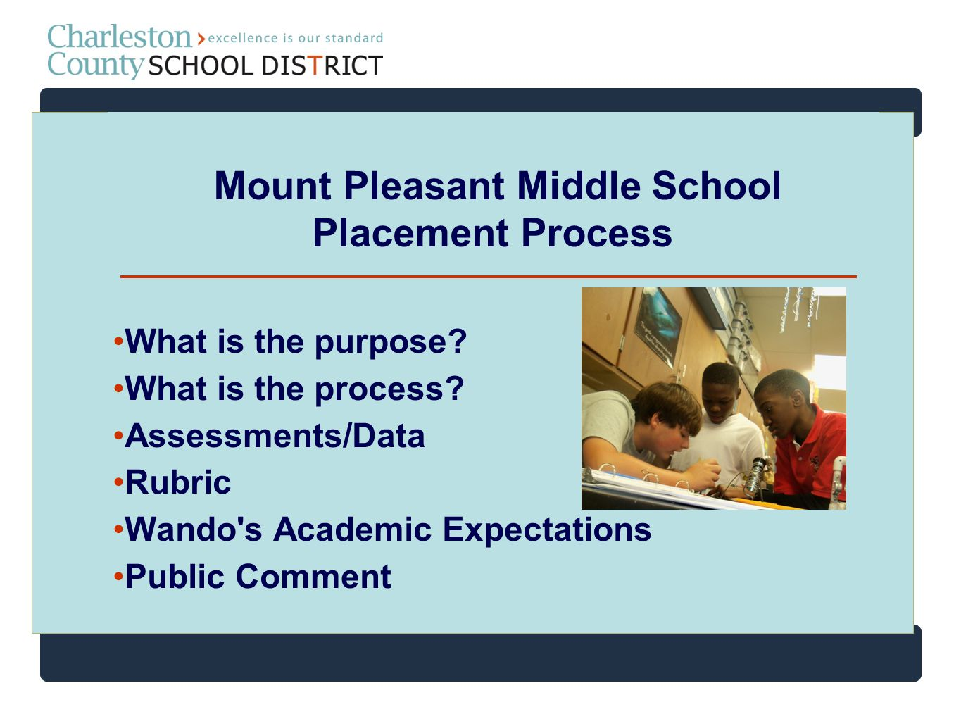 Purpose of Placement Place students into challenging classes Meet the needs of every child Place students into interventions Place students into honors and high school courses