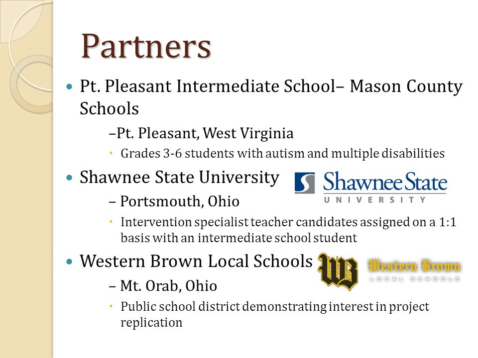 Partners Pt. Pleasant Intermediate School– Mason County Schools –Pt. Pleasant, West Virginia  Grades 3-6 students with autism and multiple disabiliti