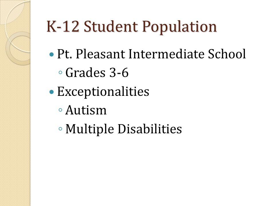K-12 Student Population Pt. Pleasant Intermediate School ◦ Grades 3-6 Exceptionalities ◦ Autism ◦ Multiple Disabilities