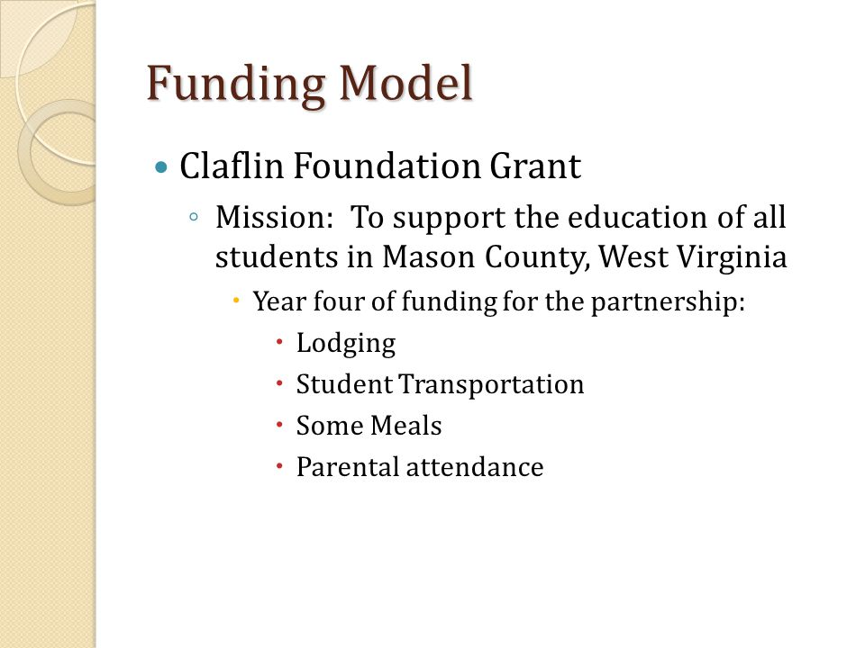 Funding Model Claflin Foundation Grant ◦ Mission: To support the education of all students in Mason County, West Virginia  Year four of funding for t