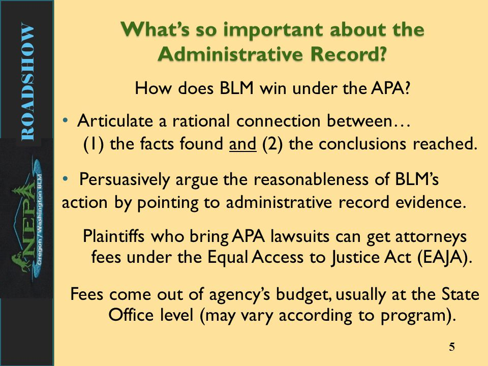 ROADSHOW 5 How does BLM win under the APA.