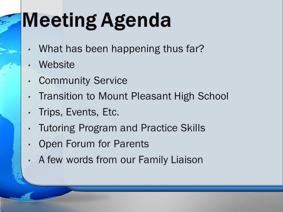 Meeting Agenda What has been happening thus far.