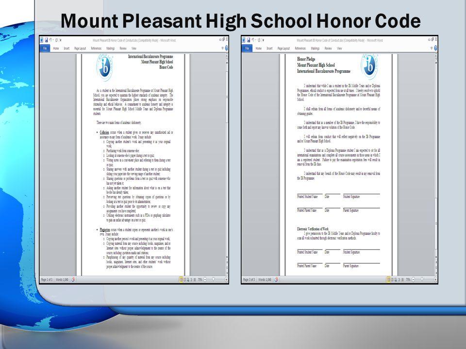 Mount Pleasant High School Honor Code
