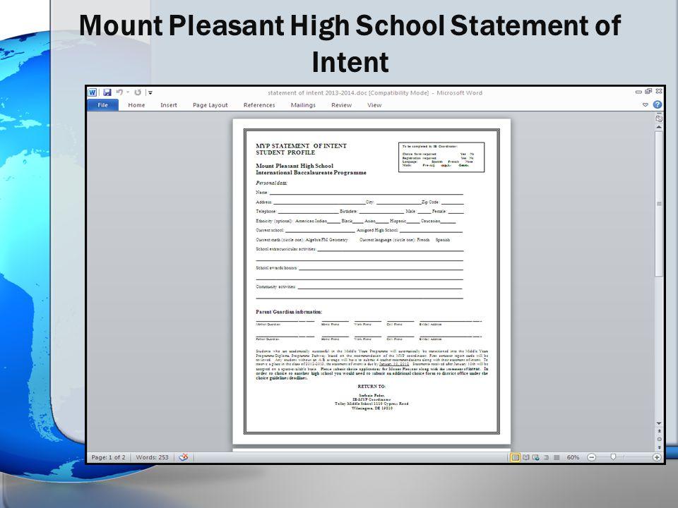 Mount Pleasant High School Statement of Intent