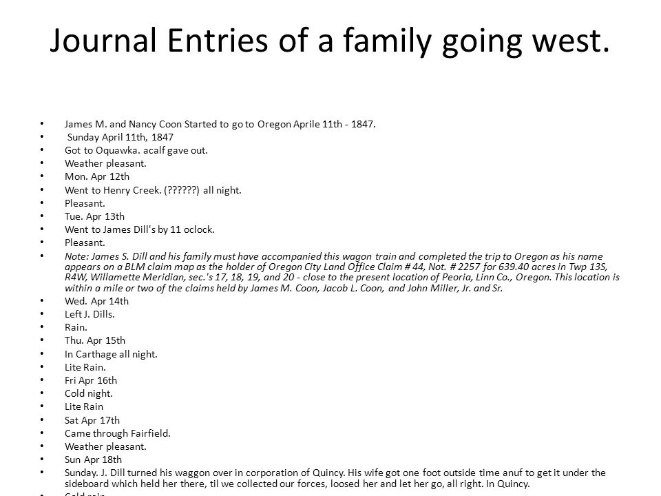 Journal Entries of a family going west. James M.