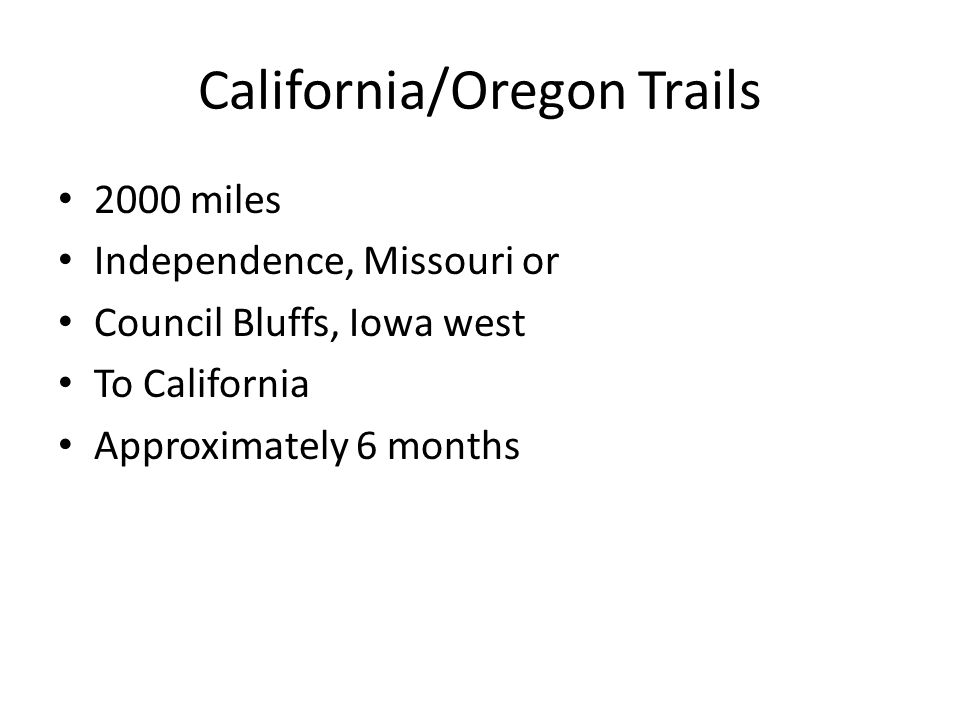 Santa Fe Trail Independence, Missouri to Santa Fe, New Mexico It was mainly used as a trade route