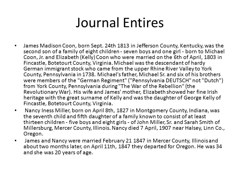 Journal Entires James Madison Coon, born Sept.