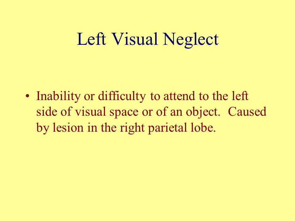 Left Visual Neglect Inability or difficulty to attend to the left side of visual space or of an object. Caused by lesion in the right parietal lobe.
