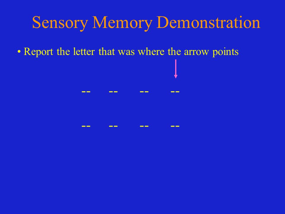 Sensory Memory Demonstration -- -- Report the letter that was where the arrow points