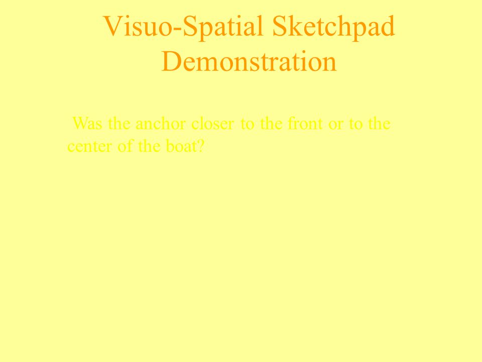 Visuo-Spatial Sketchpad Demonstration Was the anchor closer to the front or to the center of the boat?