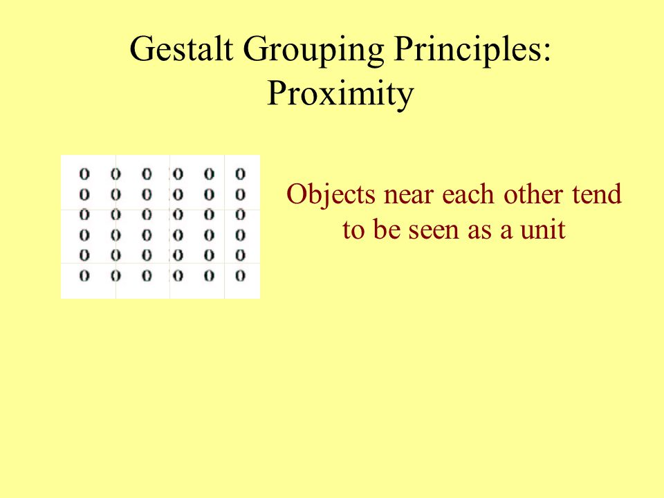 Objects near each other tend to be seen as a unit Gestalt Grouping Principles: Proximity