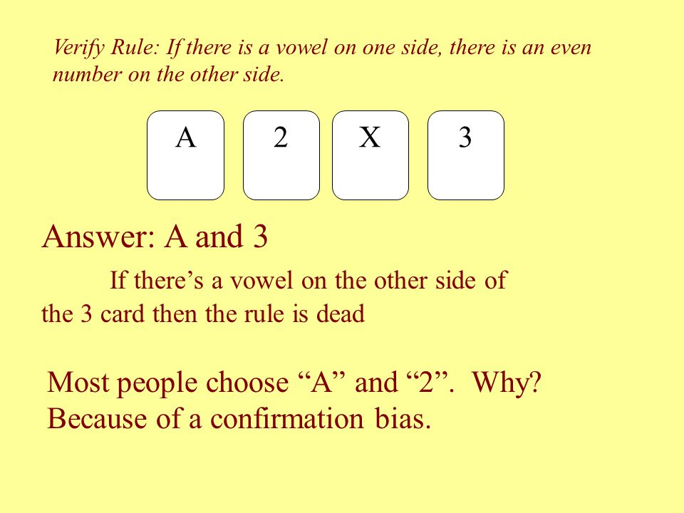 "Verify Rule: If there is a vowel on one side, there is an even number on the other side. A 2X 3 Most people choose ""A"" and ""2"". Why? Because of a conf"