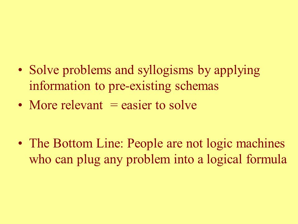Solve problems and syllogisms by applying information to pre-existing schemas More relevant = easier to solve The Bottom Line: People are not logic ma