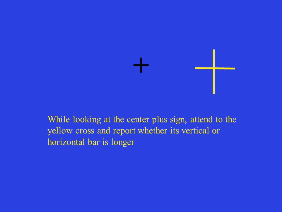 + While looking at the center plus sign, attend to the yellow cross and report whether its vertical or horizontal bar is longer