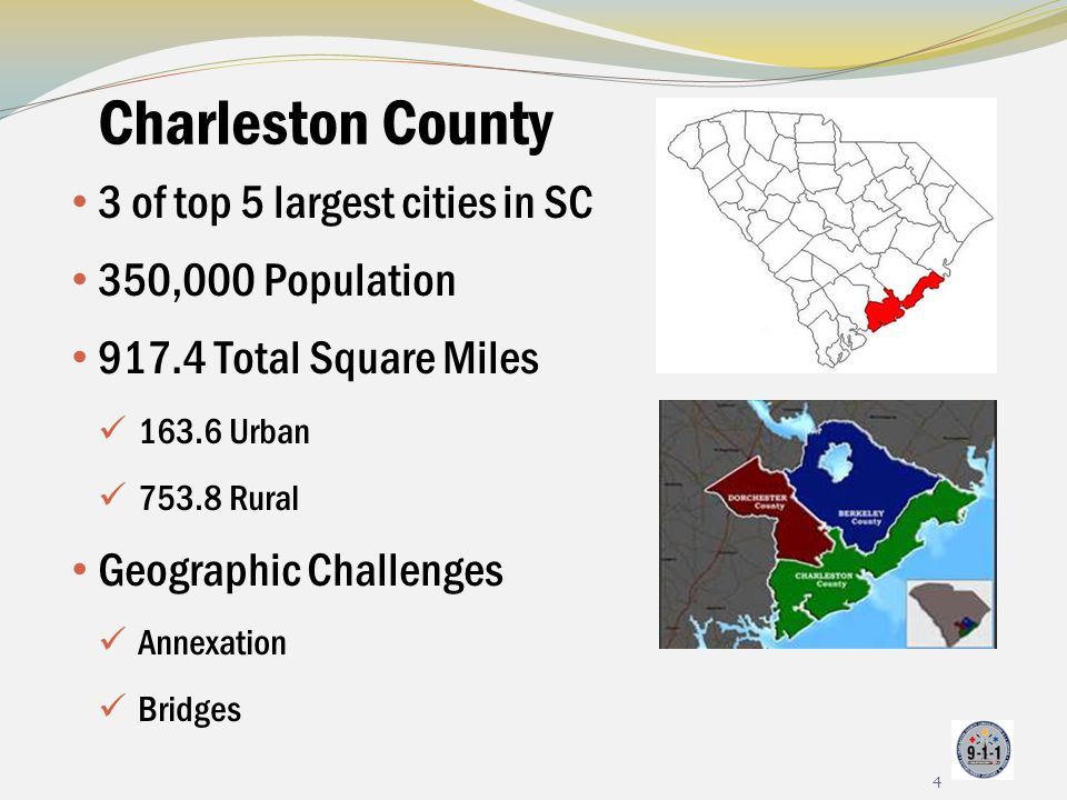 Charleston County 3 of top 5 largest cities in SC 350,000 Population 917.4 Total Square Miles 163.6 Urban 753.8 Rural Geographic Challenges Annexation