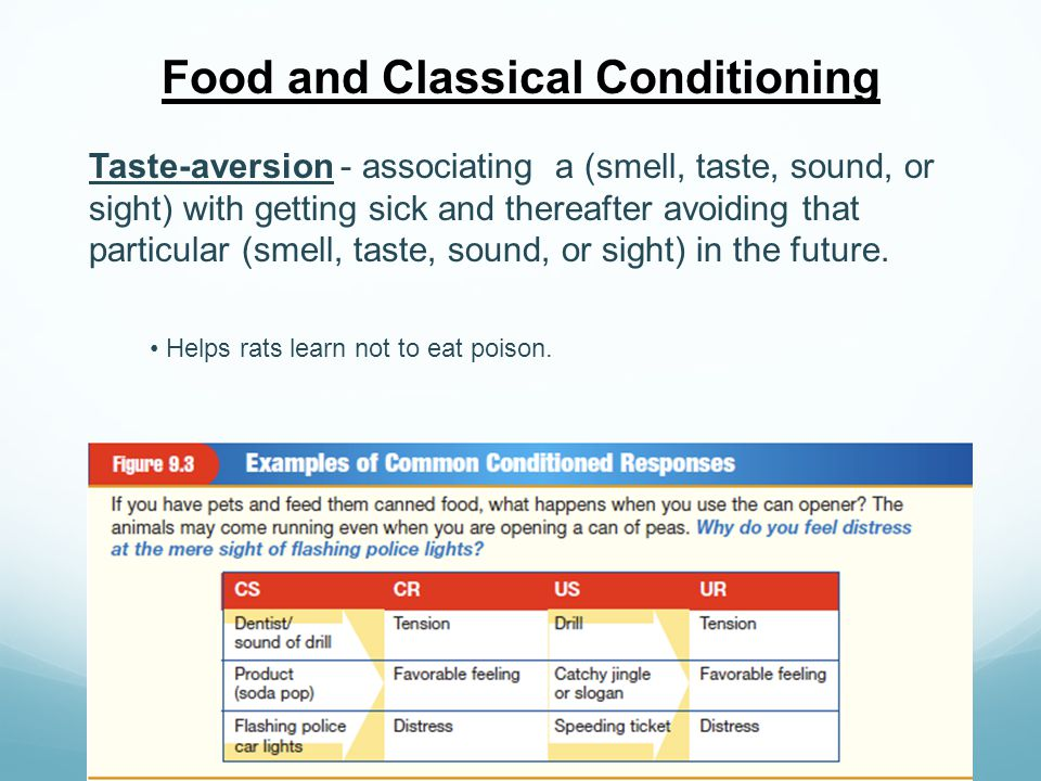 Food and Classical Conditioning Taste-aversion - associating a (smell, taste, sound, or sight) with getting sick and thereafter avoiding that particul