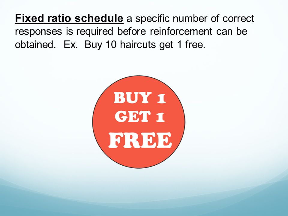 Fixed ratio schedule a specific number of correct responses is required before reinforcement can be obtained. Ex. Buy 10 haircuts get 1 free.