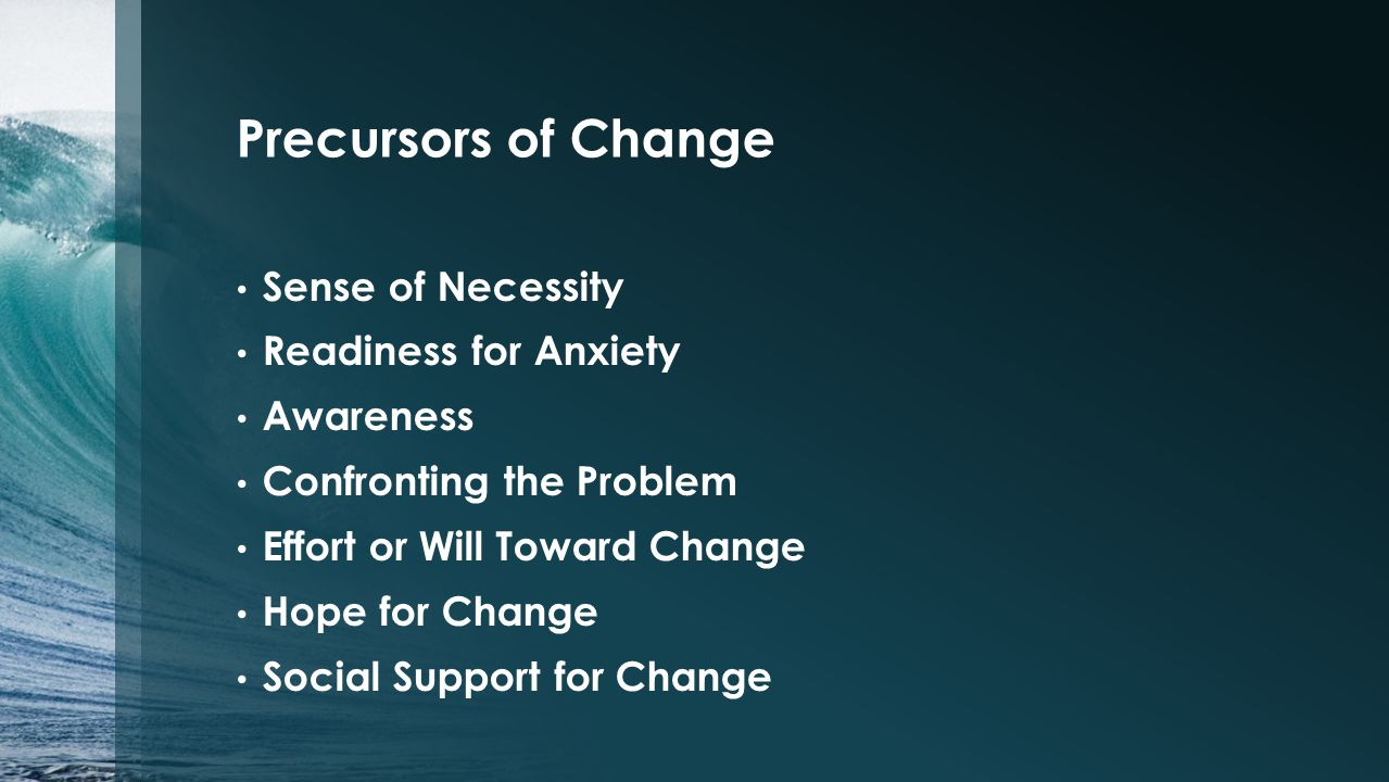 Precursors of Change Sense of Necessity Readiness for Anxiety Awareness Confronting the Problem Effort or Will Toward Change Hope for Change Social Support for Change