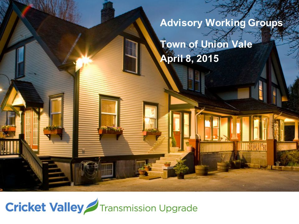 Advisory Working Groups Town of Union Vale April 8, 2015