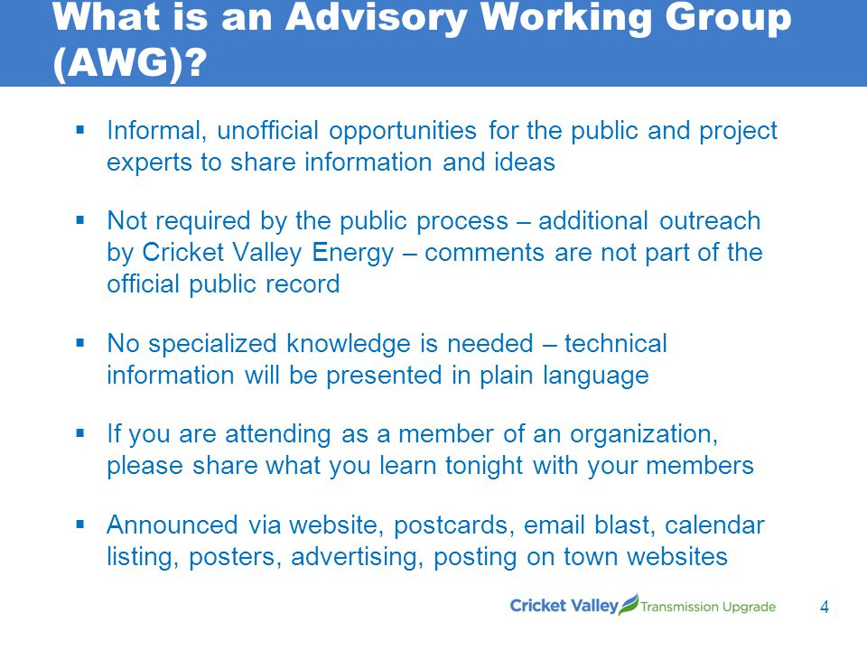 What is an Advisory Working Group (AWG).