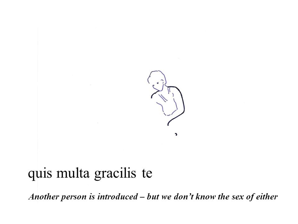 quis multa gracilis te Another person is introduced – but we don't know the sex of either