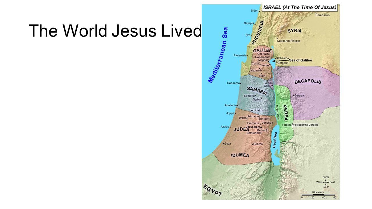 Palestine Galilee - north Samaria - south Judea - south Nazareth – city Jesus grew up Capernaum - city near Sea of Galilee His public ministry Bethlehem – birth Jerusalem - death