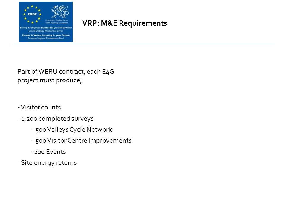 Part of WERU contract, each E4G project must produce; - Visitor counts - 1,200 completed surveys - 500 Valleys Cycle Network - 500 Visitor Centre Improvements -200 Events - Site energy returns VRP: M&E Requirements