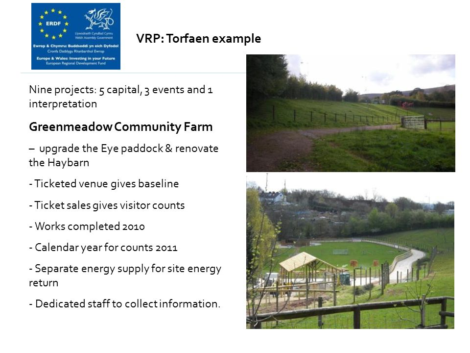 VRP: Torfaen example Nine projects: 5 capital, 3 events and 1 interpretation Greenmeadow Community Farm – upgrade the Eye paddock & renovate the Hayba