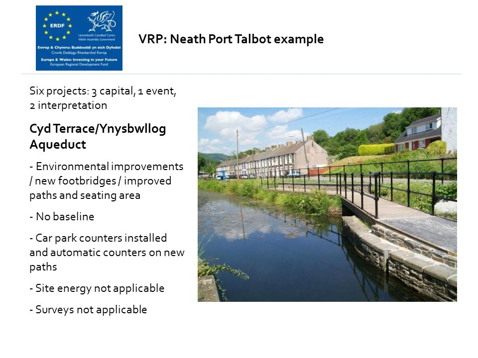 VRP: Neath Port Talbot example Six projects: 3 capital, 1 event, 2 interpretation Cyd Terrace/Ynysbwllog Aqueduct - Environmental improvements / new footbridges / improved paths and seating area - No baseline - Car park counters installed and automatic counters on new paths - Site energy not applicable - Surveys not applicable