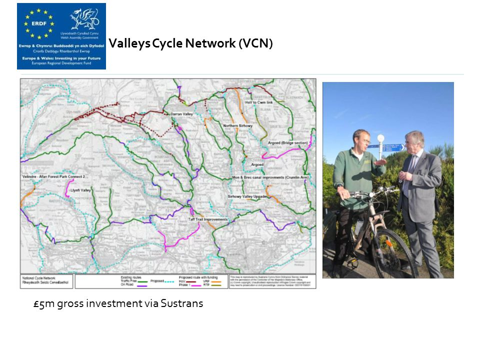 Valleys Cycle Network (VCN) £5m gross investment via Sustrans