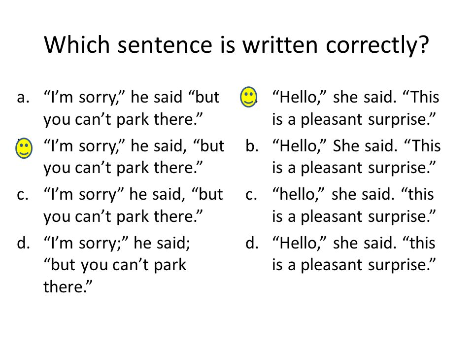 Which sentence is written correctly.a.