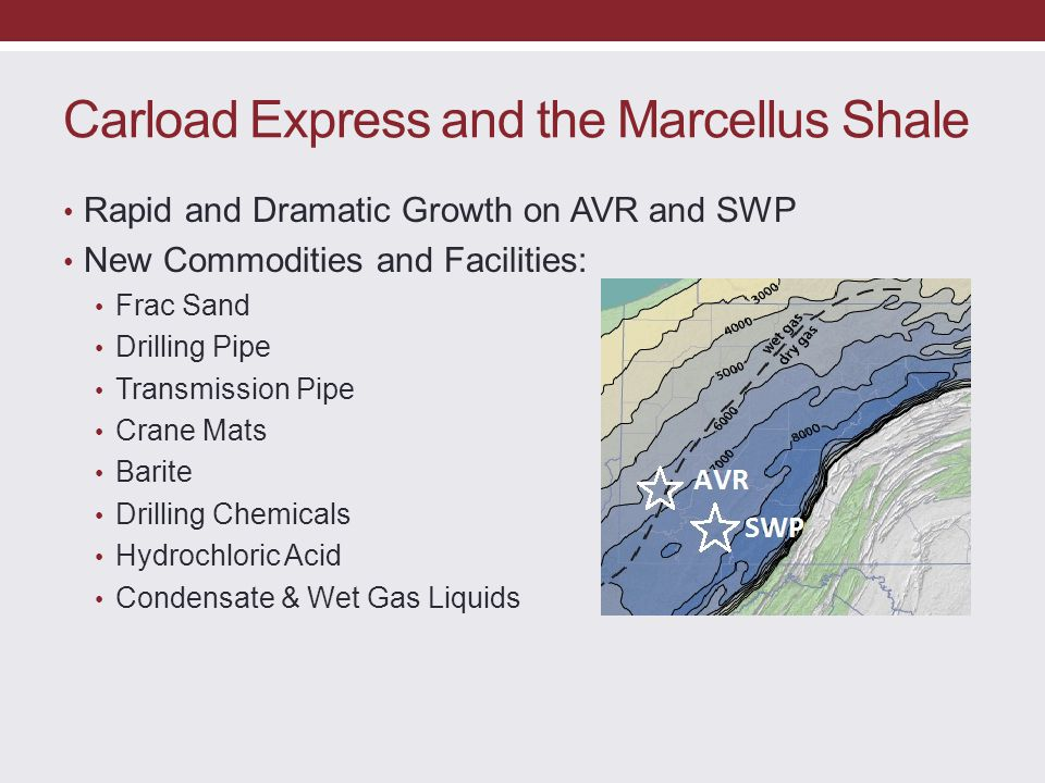 Carload Express and the Marcellus Shale Rapid and Dramatic Growth on AVR and SWP New Commodities and Facilities: Frac Sand Drilling Pipe Transmission
