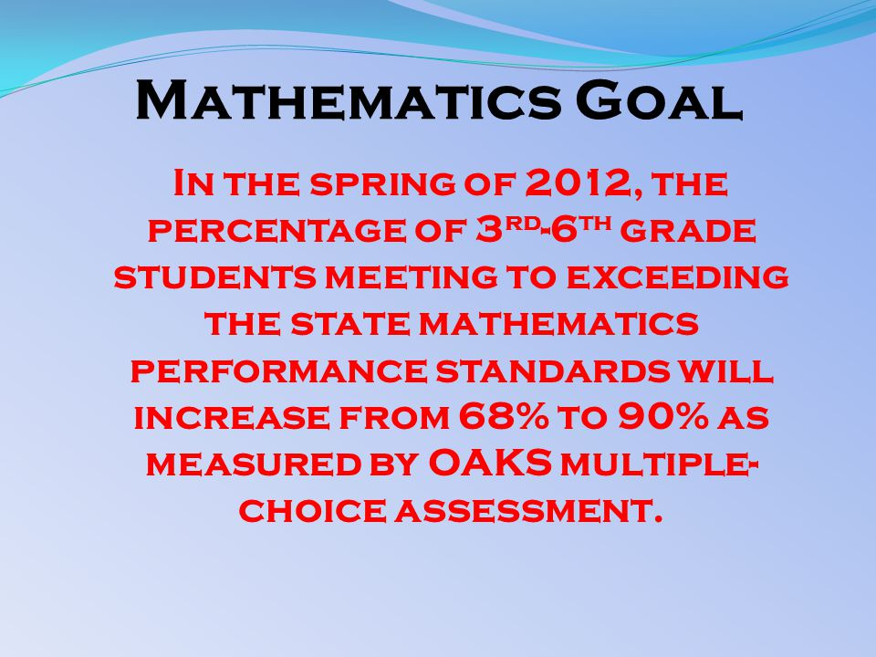 Mathematics Goal In the spring of 2012, the percentage of 3 rd -6 th grade students meeting to exceeding the state mathematics performance standards will increase from 68% to 90% as measured by OAKS multiple- choice assessment.