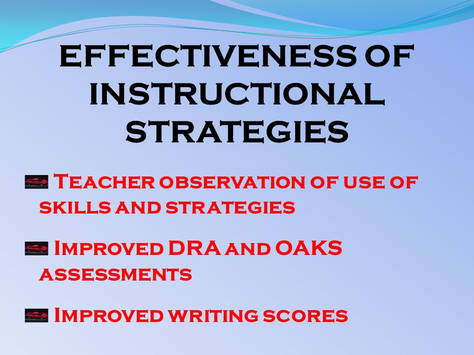 EFFECTIVENESS OF INSTRUCTIONAL STRATEGIES Teacher observation of use of skills and strategies Improved DRA and OAKS assessments Improved writing scores