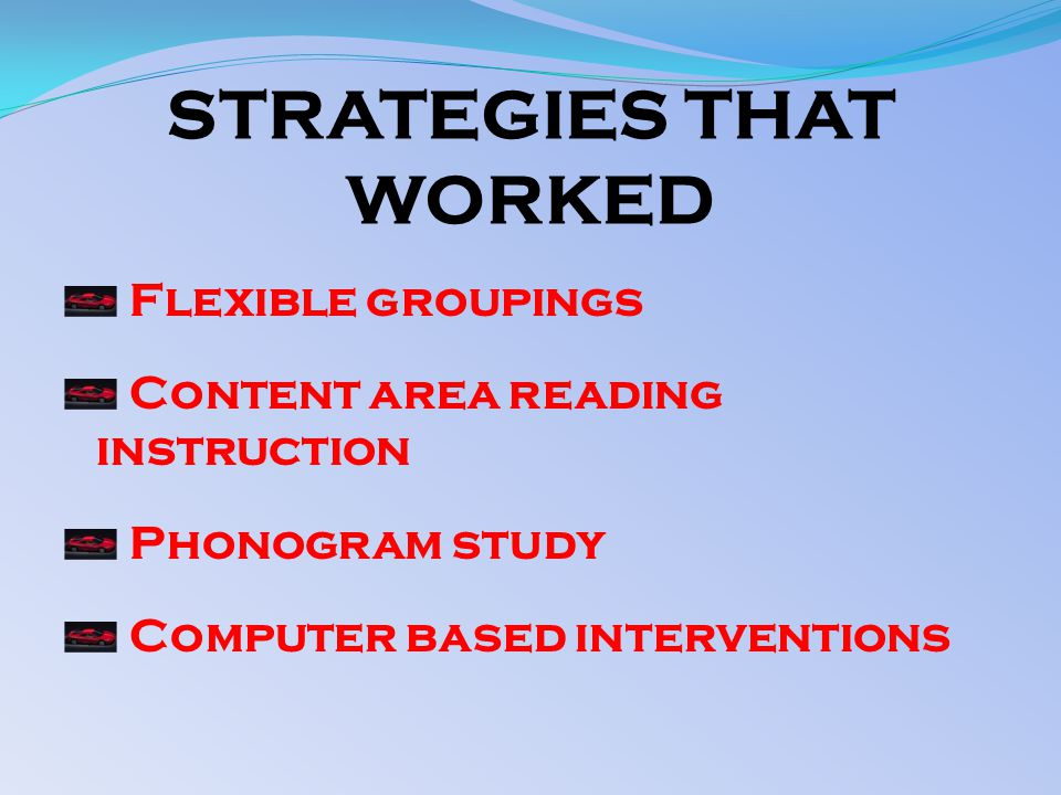 STRATEGIES THAT WORKED Flexible groupings Content area reading instruction Phonogram study Computer based interventions